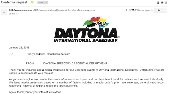Daytona International Speedway denies media credentials to internet newspaper / Headline Surfer®
