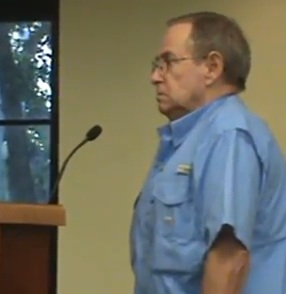 NSB citizen watchdog Bob Tolley stearn at Tuesday's commission meeting / Headline Surfer