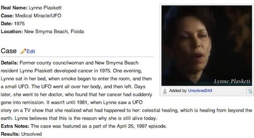 Wiki page on Lynne Plaskett and Unsolved Mysteries / Headline Surfer