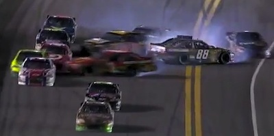 Dale Earnhardt Jr. (88) wrecks on final lap of Coke Zero 400 at Daytona.